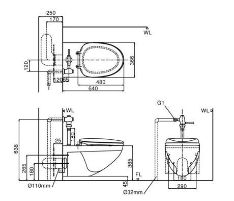 Bản vẽ kỹ thuật Bồn cầu treo tường INAX AC-22P+CW-H17VN