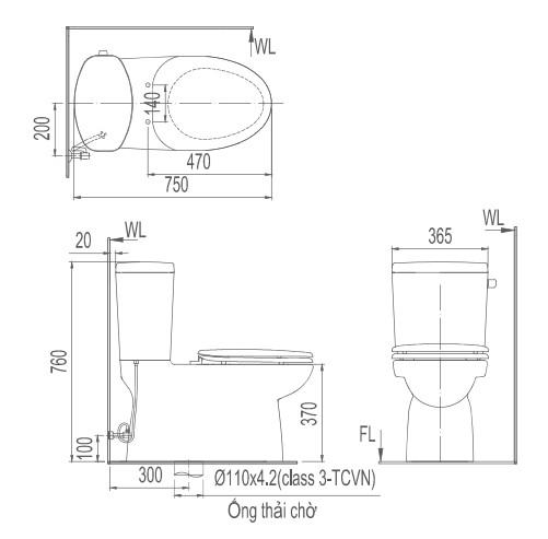 Bản vẽ kỹ thuật Bồn cầu 2 khối INAX AC-711R+CW-KB22A