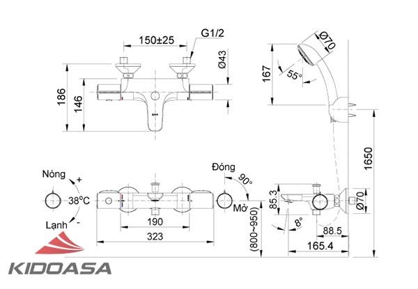 Bản vẽ kỹ thuật sen tắm INAX BFV-3413T-3C