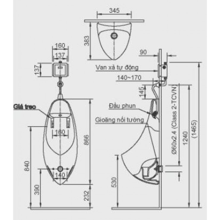 Bản vẽ kỹ thuật bồn tiểu nam Inax AU-417V