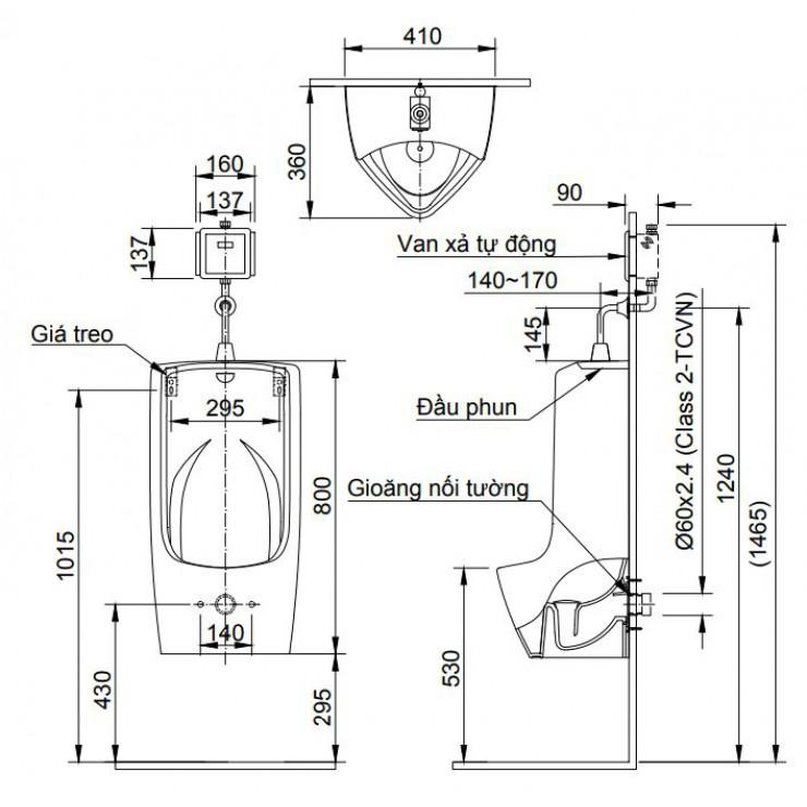 Bản vẽ kỹ thuật bồn tiểu nam Inax U-411V