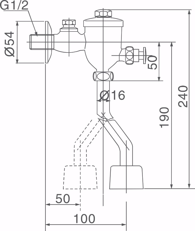Bản vẽ kỹ thuật van xả bồn tiểu Inax UF-6V