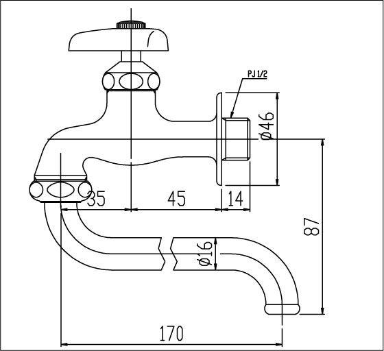 Bản vẽ kỹ thuật vòi bếp Inax lạnh LF-12-13