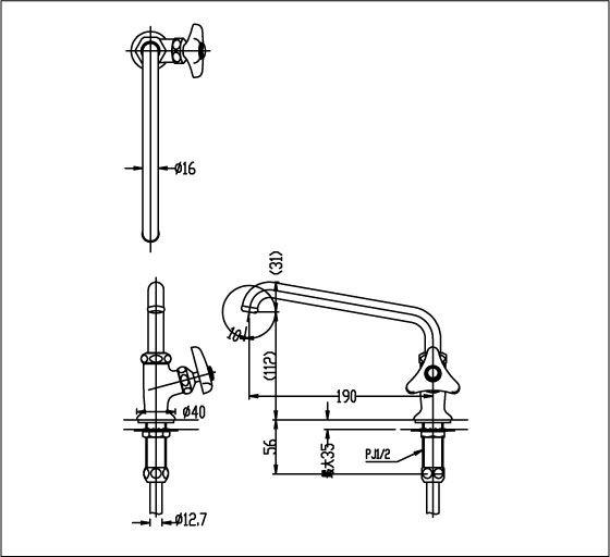 Bản vẽ kỹ thuật vòi bếp Inax lạnh LF-14-13
