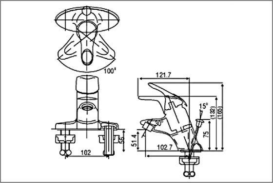 Bản vẽ kỹ thuật vòi chậu lavabo nóng lạnh INAX LFV-201S