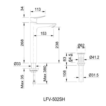 Bản vẽ kỹ thuật vòi chậu lavabo nóng lạnh INAX LFV-502SH