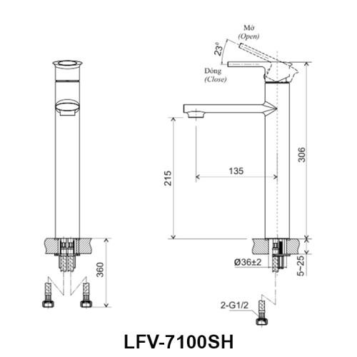 Bản vẽ kỹ thuật vòi chậu lavabo nóng lạnh INAX LFV-7100SH