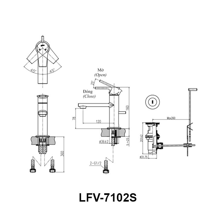 Bản vẽ kỹ thuật vòi chậu lavabo nóng lạnh INAX LFV-7102S