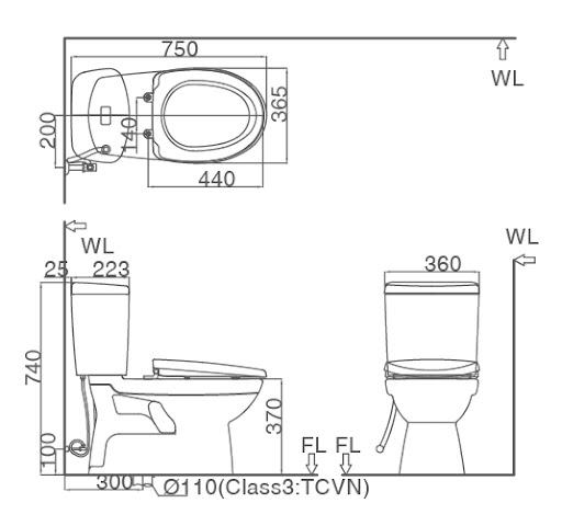 Bản vẽ kỹ thuật Bồn cầu 2 khối INAX C-504A+CW-H17VN