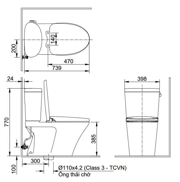 Bản vẽ kỹ thuật Bồn cầu 2 khối INAX AC-710A+CW-H17VN