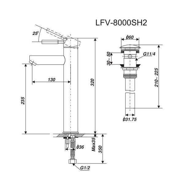 Bản vẽ kỹ thuật vòi chậu lavabo nóng lạnh INAX LFV-8000SH2