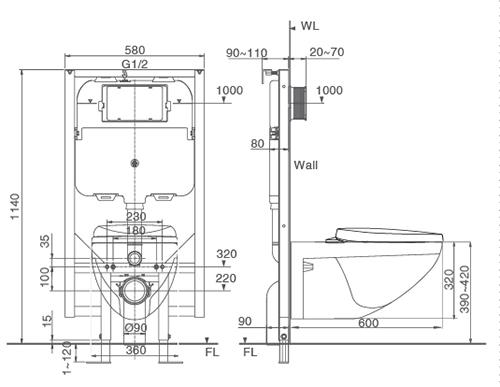 Bản vẽ kỹ thuật bồn cầu két âm INAX AC-23P+CW-S15VN