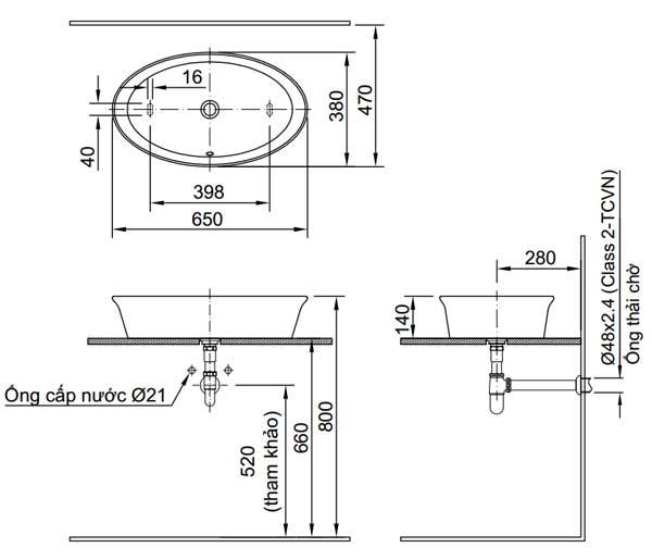 Bản vẽ kỹ thuật chậu rửa mặt đặt bàn Inax AL-300V
