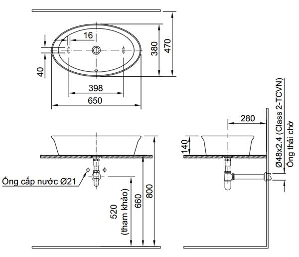 Bản vẽ kỹ thuật chậu rửa mặt đặt bàn INAX L-300V