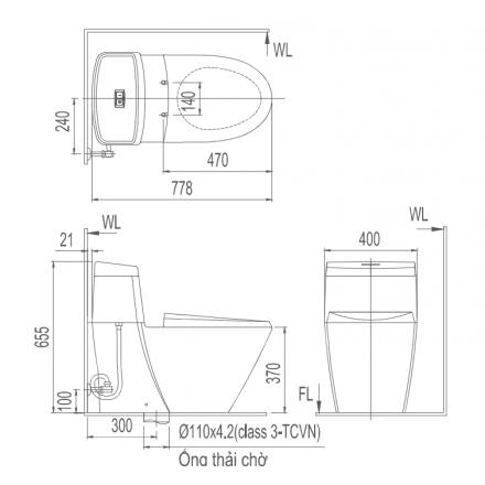 Bản vẽ kỹ thuật bồn cầu 1 khối INAX AC-909R+CW-H18VN