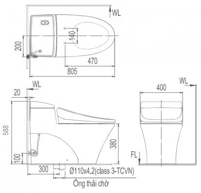Bản vẽ kỹ thuật Bồn cầu 1 khối INAX AC-1017R+CW-S32VN