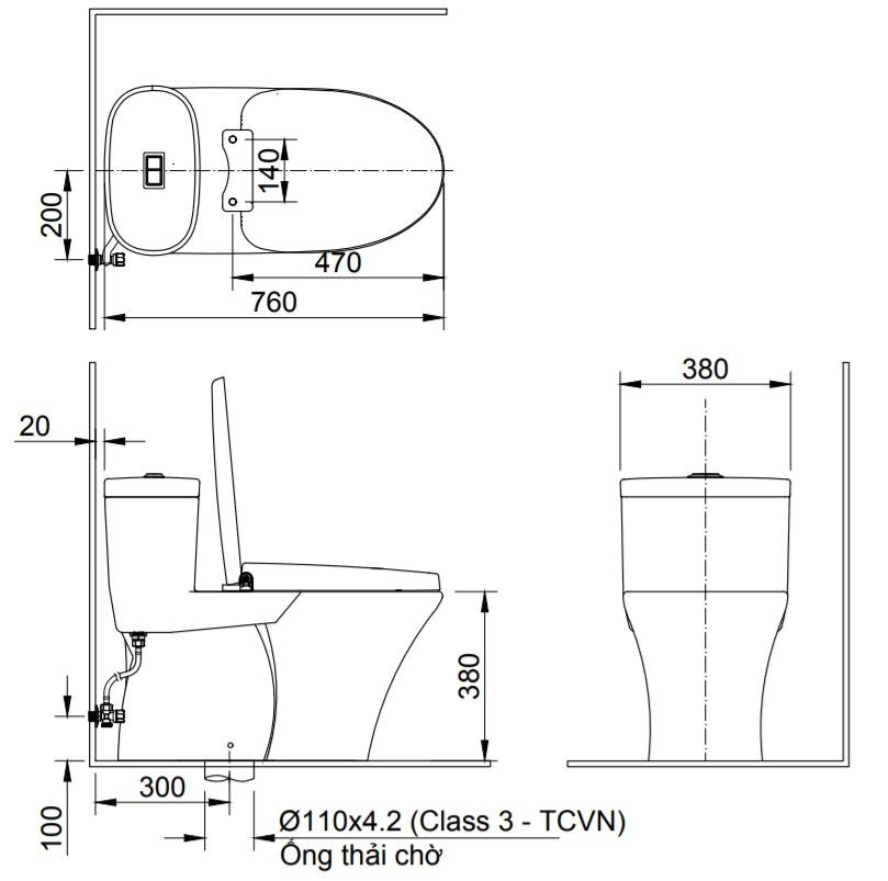 Bản vẽ kỹ thuật bồn cầu 1 khối INAX AC-959+CW-KB22AVN