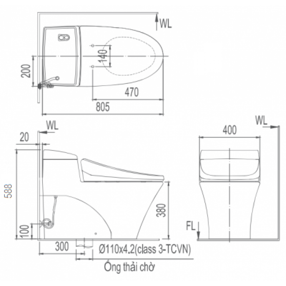 Bản vẽ kỹ thuật Bồn cầu 1 khối INAX AC-1008R+CW-H17VN
