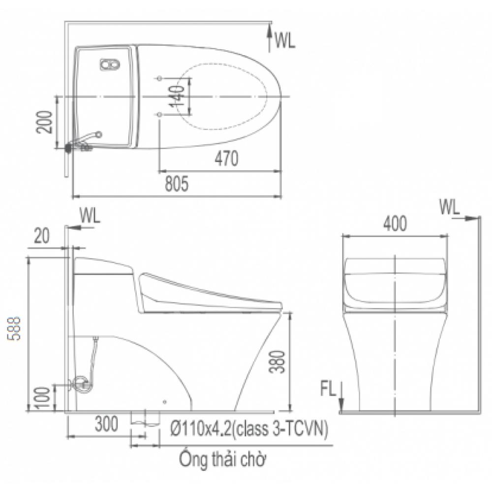 Bản vẽ kỹ thuật Bồn cầu 1 khối INAX AC-1008R+CW-H18VN