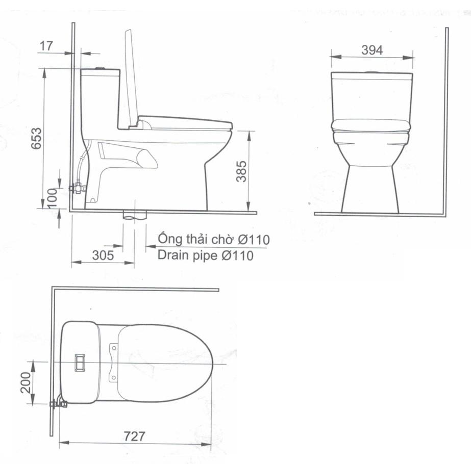 Bản vẽ kỹ thuật bồn cầu 1 khối INAX AC-969VN