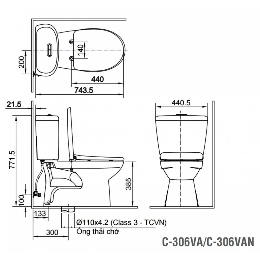 Bản vẽ kỹ thuật bồn cầu 2 khối INAX C-306A+CW-S15VN