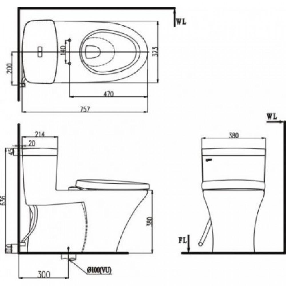 Bản vẽ kỹ thuật bồn cầu 1 khối INAX C-900R+CW-RS3VN
