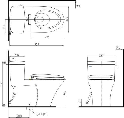 Bản vẽ kỹ thuật bồn cầu 1 khối INAX C-991VRN