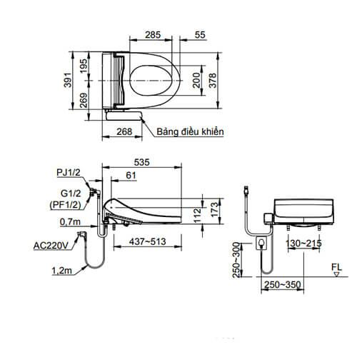 Bản vẽ kỹ thuật nắp rửa điện tử INAX CW-H17VN