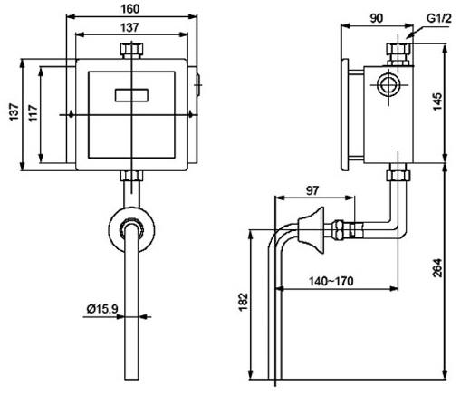 Bản vẽ kỹ thuật van xả bồn tiểu Inax OKUV-32SM