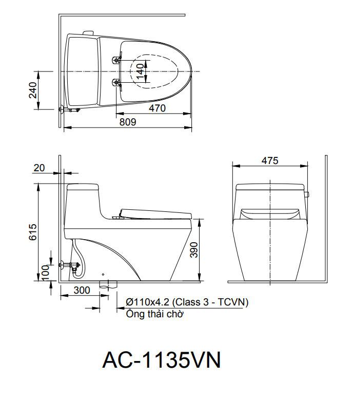 Bản vẽ kỹ thuật bồn cầu 1 khối INAX AC-1135VN