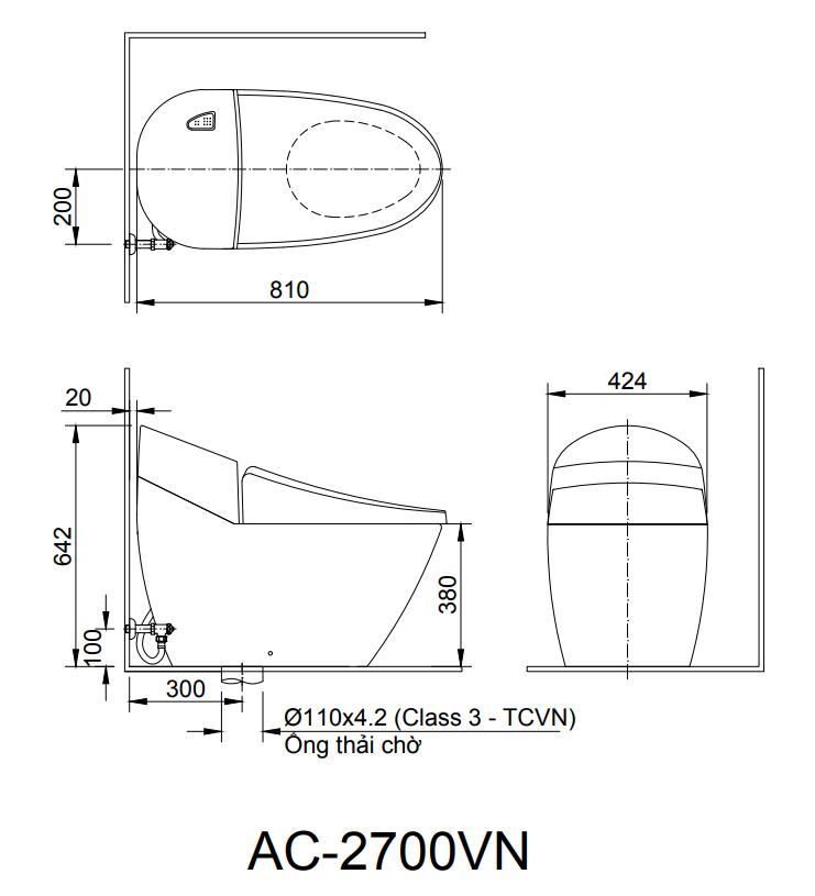 Bản vẽ kỹ thuật bồn cầu 1 khối INAX AC-2700VN
