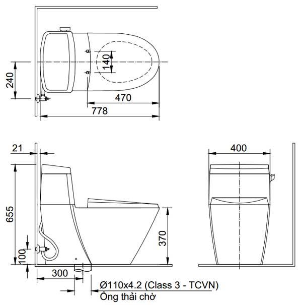 Bản vẽ kỹ thuật bồn cầu 1 khối INAX AC-918R+CW-S32VN