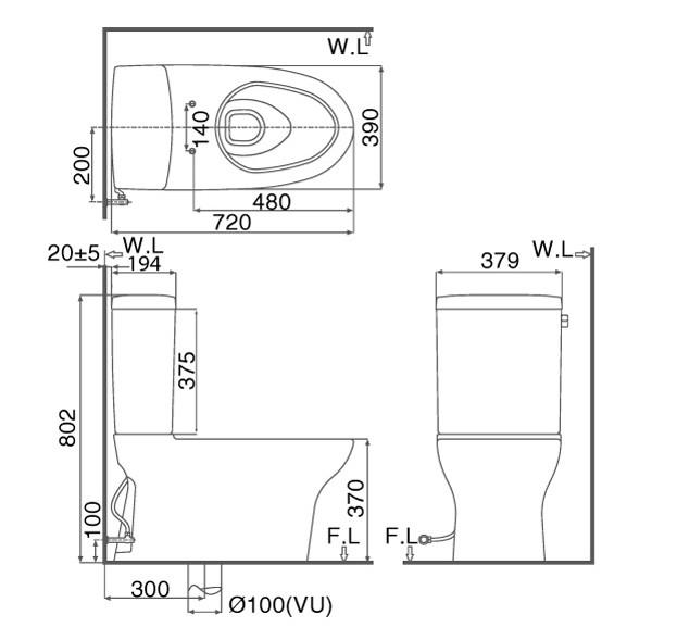 Bản vẽ kỹ thuật Bồn cầu 2 khối INAX AC-927+CW-KA22A