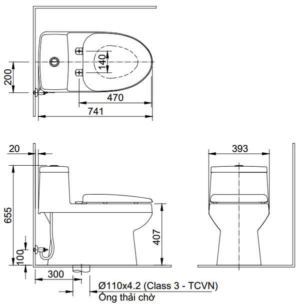 Bản vẽ kỹ thuật Bồn cầu 1 khối INAX C-939+CW-H23VN