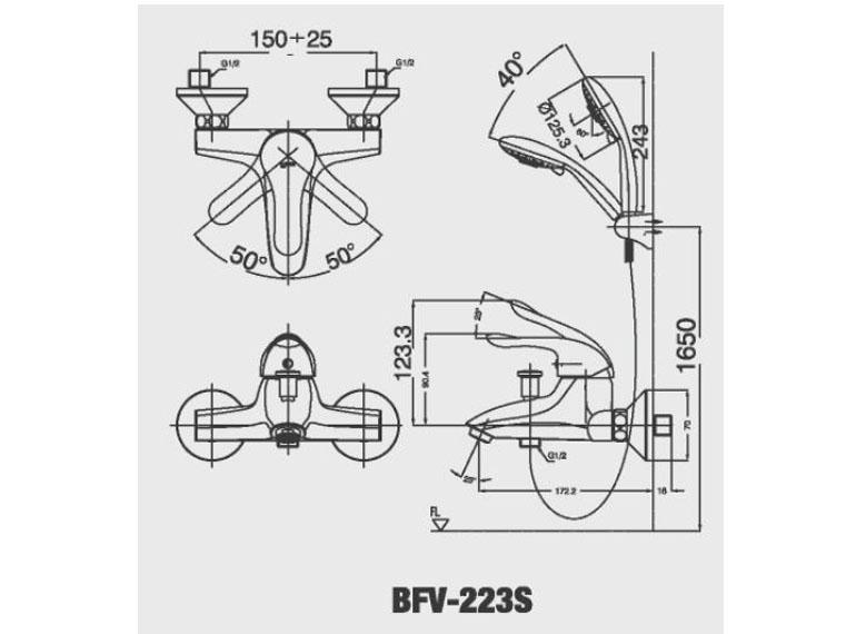 Bản vẽ kỹ thuật sen tắm INAX BFV-223S