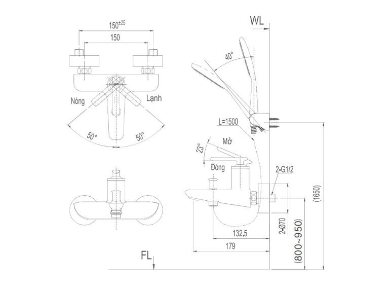 Bản vẽ kỹ thuật sen tắm INAX BFV-4103S-5C
