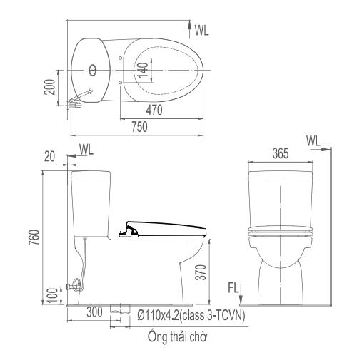 Bản vẽ kỹ thuật bồn cầu 2 khối INAX AC-702R+CW-KA22A