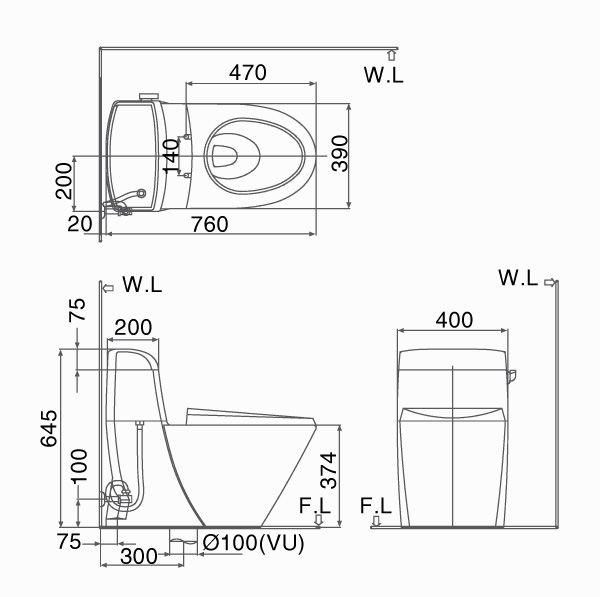 Bản vẽ kỹ thuật bồn cầu 1 khối INAX C-918+CW-S15VN