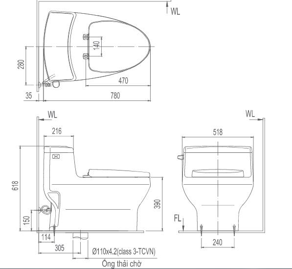 Bản vẽ kỹ thuật bồn cầu 1 khối INAX GC-4005VN