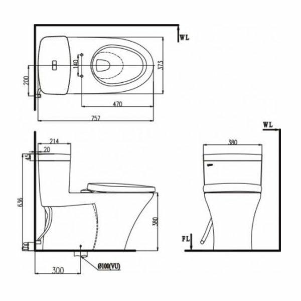 Bản vẽ kỹ thuật bồn cầu INAX AC-900R+CW-KA22AVN