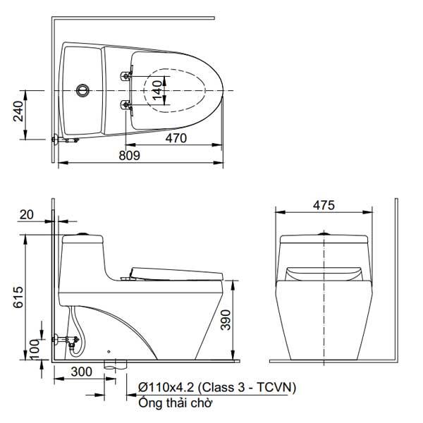 Bản vẽ kỹ thuật bồn cầu 1 khối INAX AC-1035+CW-S15VN