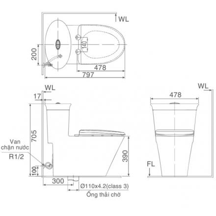 Bản vẽ kỹ thuật bồn cầu 1 khối INAX AC-3003+CW-S15VN