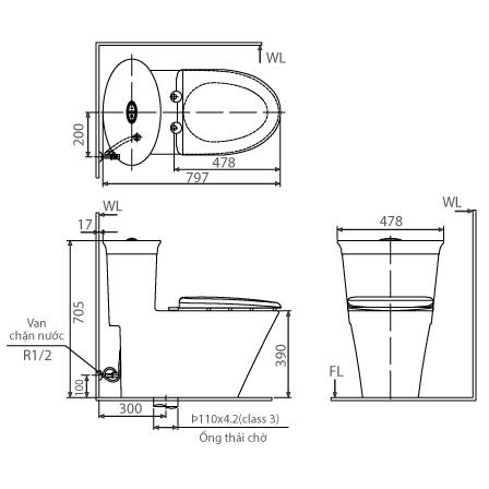Bản vẽ kỹ thuật bồn cầu INAX AC-3003+CW-KB22A