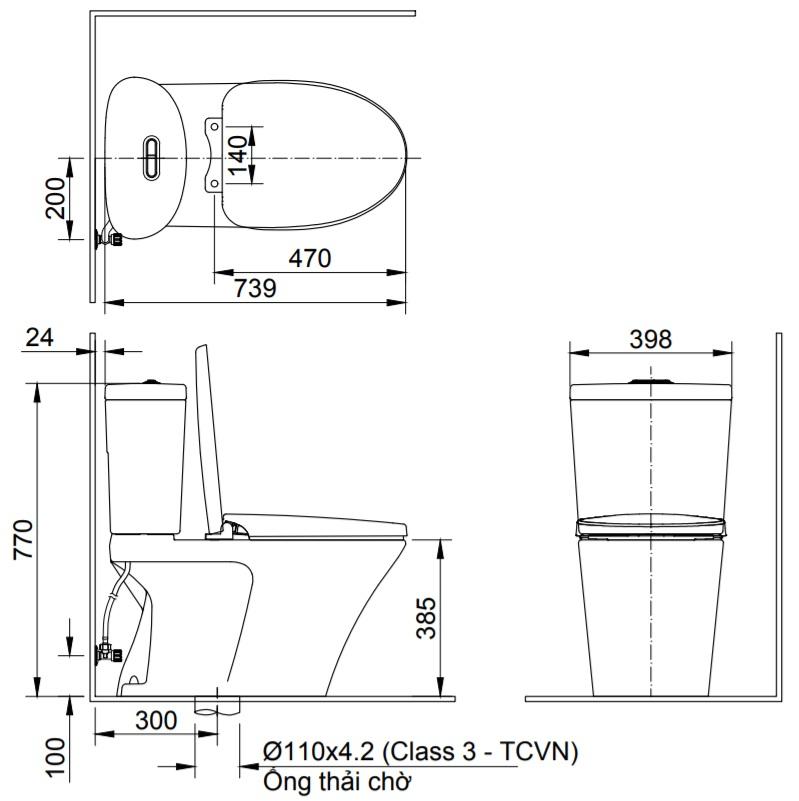 Bản vẽ kỹ thuật bồn cầu 2 khối INAX AC-700A+CW-S15VN