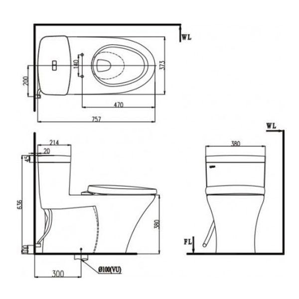 Bản vẽ kỹ thuật bồn cầu 1 khối INAX AC-900R+CW-S15VN