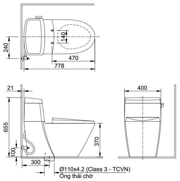 Bản vẽ kỹ thuật bồn cầu INAX AC-918R+CW-KA22AVN