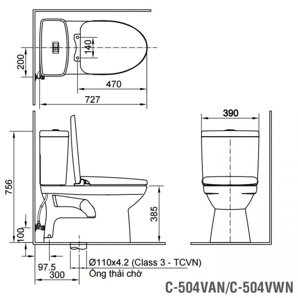 Bản vẽ kỹ thuật bồn cầu 2 khối INAX C-504A+CW-S15VN