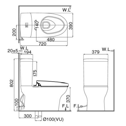 Bản vẽ kỹ thuật bồn cầu 2 khối INAX C-907+CW-H23VN