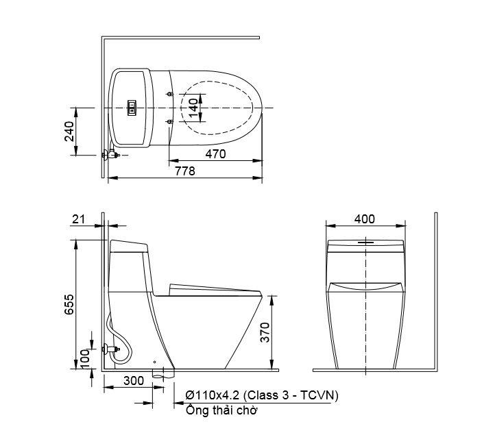 Bản vẽ kỹ thuật Bồn cầu 1 khối INAX C-909R+CW-S15VN