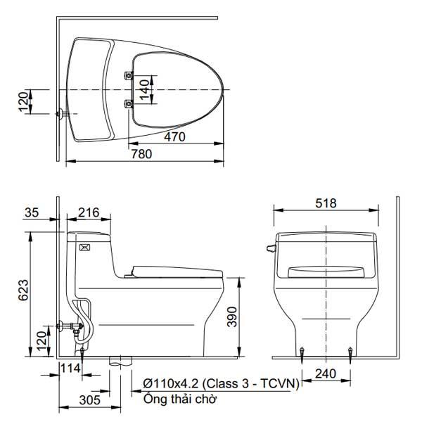 Bản vẽ kỹ thuật bồn cầu 1 khối INAX AC-4005+CW-S15VN